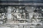 Mural wall carvings at Borobudurówomen (Java)