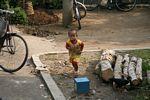 Boy running in village near Borobudur (Java)
