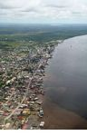 Aerial view ports on the Kumai River in Kalimantan (Kalimantan, Borneo - Indonesian Borneo)