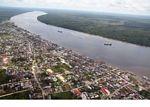 Aerial view the Kumai River and Pangkalanbun, Kalimantan (Kalimantan, Borneo - Indonesian Borneo)