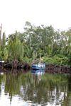 Boat docked on the Seikonyer River in Borneo (Kalimantan, Borneo - Indonesian Borneo)