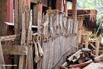 Cattle jawbones hung along a fence (Toraja Land (Torajaland), Sulawesi)