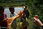 Toraja children playing with bubbles (Toraja Land (Torajaland), Sulawesi)