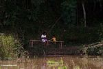 Father and child fishing in a rice paddy (Toraja Land (Torajaland), Sulawesi)
