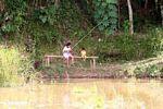 Kids fishing in a rice paddy (Toraja Land (Torajaland), Sulawesi)