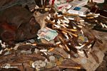 1000 rupiah note among cigarettes and coins at grave site in cave (Toraja Land (Torajaland), Sulawesi)