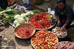 Woman selling chilis, tomatos and tomatos at the market in Rantepao (Toraja Land (Torajaland), Sulawesi)