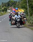 Vendor with all of his wares on the back of his motorcycle (Sulawesi - Celebes)